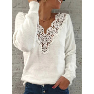Casual Shift Floral Guipure Lace Sweater
