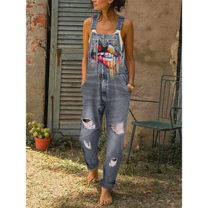 Personality Fashion Lip Print Women's Casual Denim Overalls