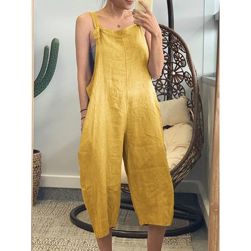 Summer Bohemian Solid Color Loose Jumpsuit