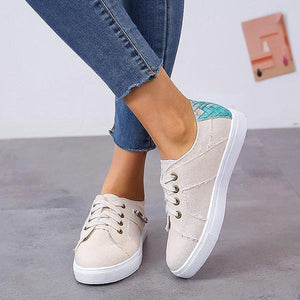 Fashion Lace-Up Zipper Stitching Flat Sneaker