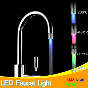LED Faucet Light Temperature Sensor RGB Glow Water Shower Head Stream Sink Tap