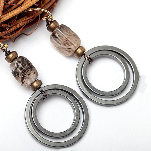 Womens Round Alloy Natural Stone Drop Earrings