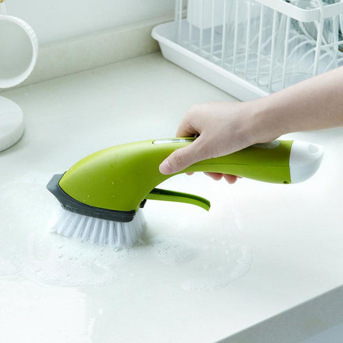 Replaceable Cleaning Brush with Refill Liquid Handle Scouring Pad Dish Scrubber Home Washing