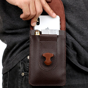 Mens Multifunctional Waterproof Mini 5.5 inch Ultra Thin Double Layer Waist Bag