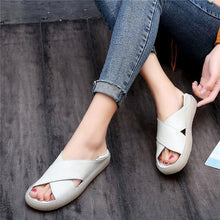 Load image into Gallery viewer, Casual Faux Leather Comfort Peep Toe Sandals