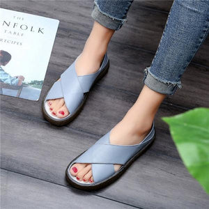 Casual Faux Leather Comfort Peep Toe Sandals