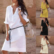 Load image into Gallery viewer, Roll Up Sleeve V-Neck Shirt Dresses