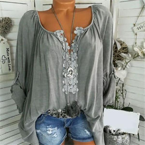Casual Solid Color Floral V-Neck Blouse