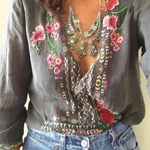Load image into Gallery viewer, Bohemian Floral Casual V-Neckline 3/4 Sleeves Blouses