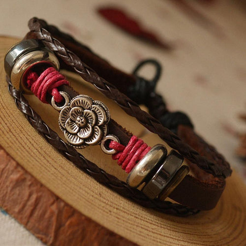 Vintage Flower Artificial Leather Bracelet