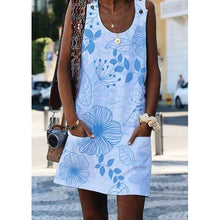 Load image into Gallery viewer, Crew Neck Floral-Print Shift Sleeveless Dresses