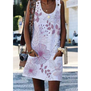 Crew Neck Floral-Print Shift Sleeveless Dresses
