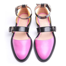 Load image into Gallery viewer, Fashion Trends Low Heel Color block Buckle Flats
