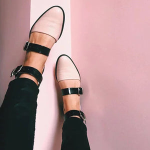 Fashion Trends Low Heel Color block Buckle Flats