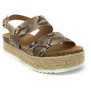Women's Casual Trim Rubber Sole Cork Heel Espadrille Sandals