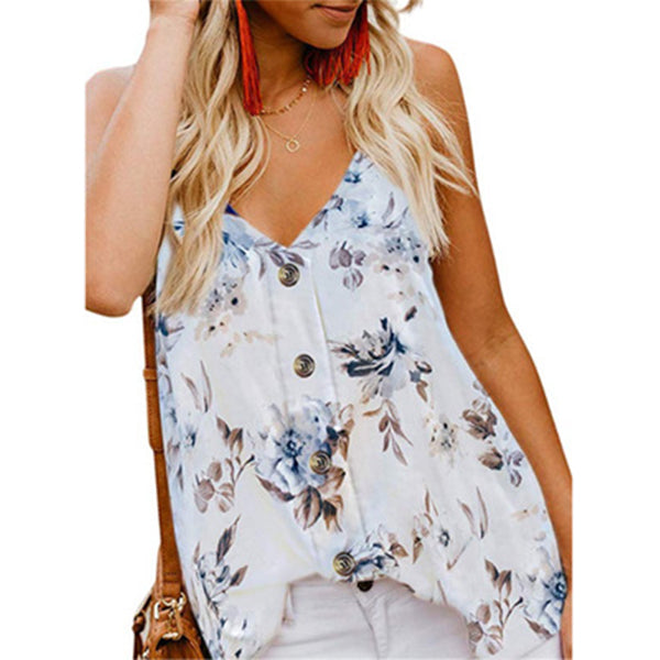 Women's Printed V Neck Casual Vest