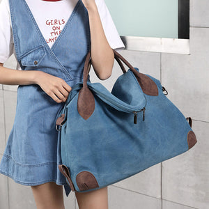 Canvas Tote Handbags Vintage Shoulder Crossbody Bags Capacity Shopping Bags