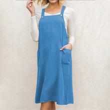 Load image into Gallery viewer, Fashion Pocket Joker Solid Color Cotton and Linen Dress