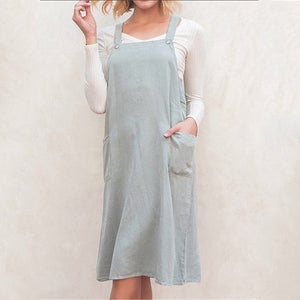 Fashion Pocket Joker Solid Color Cotton and Linen Dress