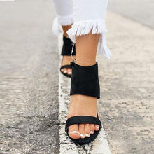 Load image into Gallery viewer, Holiday Vintage Chunky Heeled Zipper Sandals