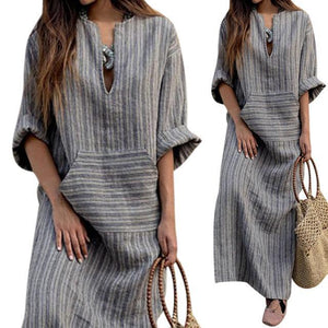 Casual Loose Maxi Dresses Cotton Linen Striped Long Sleeve Dress