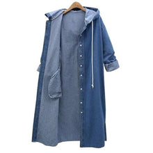 Load image into Gallery viewer, Plus Size Denim Single Breasted Hooded Coats