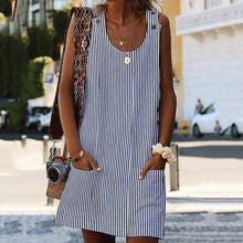 Load image into Gallery viewer, Bohemian Plus Size Women Dresses Shift Daily Pockets Striped Dresses