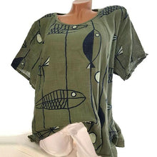 Load image into Gallery viewer, Casual Loose Printed Round Neck Blouse