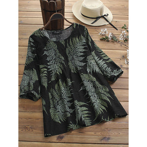 Women Loose Crew Neck Printed Blouse