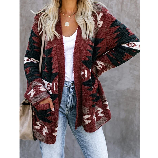 Geometric Printed Long Sleeve Coat