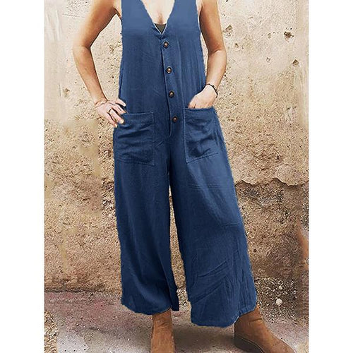 Loose Solid Color V-Neck Button Jumpsuit