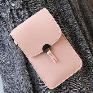 Women Retro Simple Transparent Touch Screen  6 inch Mobile Phone Chain Bag