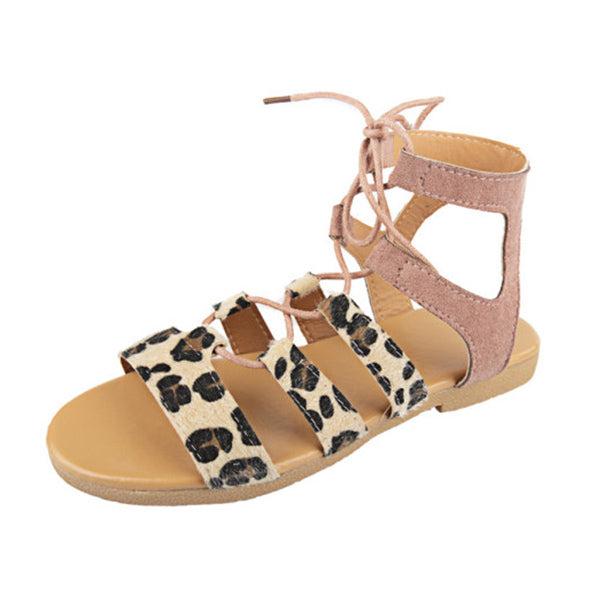 Lace Up Flat Peep Toe Casual Flat Sandals