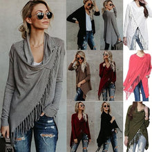 Load image into Gallery viewer, Loose Irregular Collar Tassels Cape Blouses