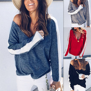 Women Autumn Winter V Neck Color Block Knitted Tops