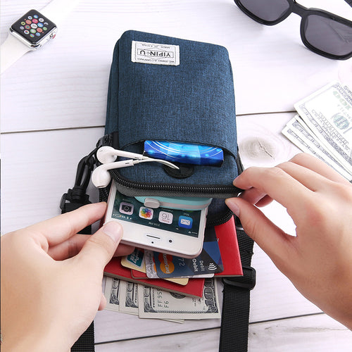 3-Layer Waterproof Cell Phone Bag Crossbody Purse for Men Women