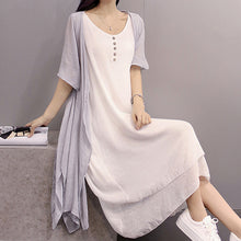 Load image into Gallery viewer, Summer/Spring/Fall Women Crew Neck Casual Dresses Two Piece Going Out Solid Dresses