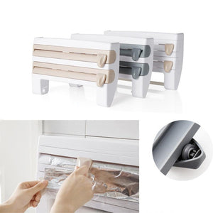 Wrapping Paper Cutter Cling Film Sauce Bottle Storage Rack Kitchen Shelf
