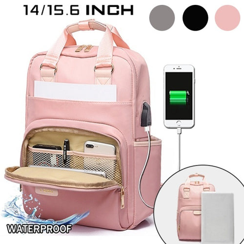 Women Travel Waterproof Large Capacity Business USB Charge Laptop Anti-theft Bag
