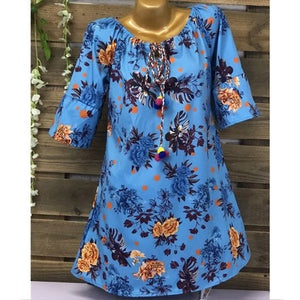Women Half Sleeve Tassels Dress Printed Loose Casual Short Dresses