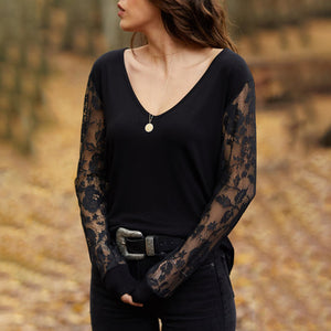 Sexy V-neck Lace Splicing Long Sleeve Slim Blouses