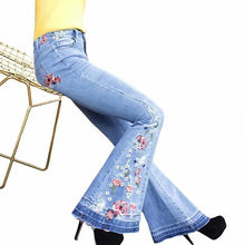 Load image into Gallery viewer, Floral Embroidered High-Rise Flare Long Denim Pants