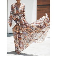 Load image into Gallery viewer, Bohemia Floral V-Neck Maxi Dress