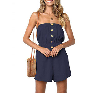 Boat Neck Buttons Pockets Women's Jumpsuits