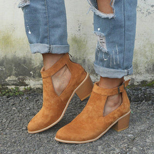 Casual Faux Leather Chunky Heel Ankle Boots