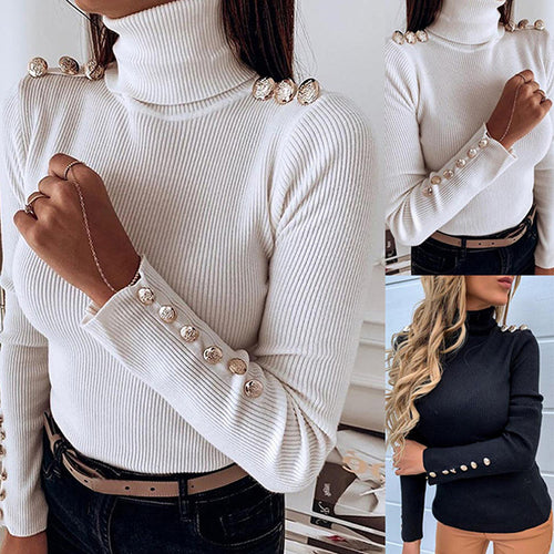 Button Solid Color High Collar Sweater