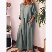 Load image into Gallery viewer, Linen Solid Color Loose Dress