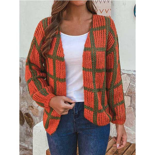 Autumn Winter Plaid V-neck Long Sleeve Loose Women Cardigan