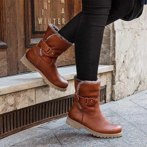 Rivet Solid Warm Winter Ankle Boots