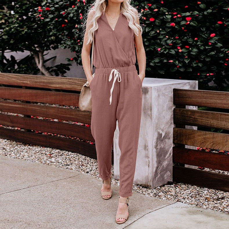 Women V Neck Solid Color Jumpsuits Fashion Sleeveless Rompers